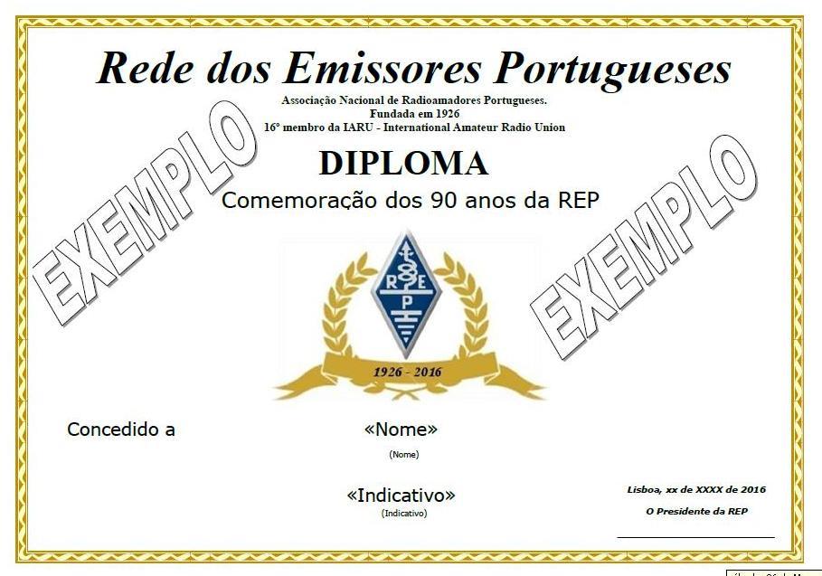Diploma 90 anos - EXEMPLO